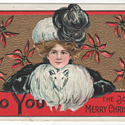 Artist Signed H B Griggs Lady with a White Fur Muff Vintage Christmas Postcard
