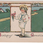 Artist Signed Kathryn Elliott Boy with Present Bouquet Vintage Birthday Postcard