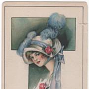 Artist Signed Kathryn Elliott Lady In Hat Vintage Birthday Postcard