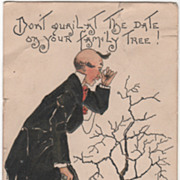 Artist Signed H B Griggs Man and Tree with No Leaves Vintage Birthday Postcard