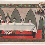 Artist Signed H B Griggs Family at Table Christmas Pudding Vintage Postcard