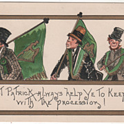Artist Signed H B Griggs Irish Men with Flags Vintage St Patrick's Day Postcard