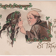 Artist Signed H B Griggs St Patrick & Lass Vintage St Patrick's Day Postcard