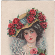 Probably Maud Humphrey Lady w/ Hat w/ Red Roses Vintage Glamour Lady Postcard