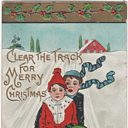 Artist Signed H B Griggs Two Boys on a Sled Vintage Christmas Postcard