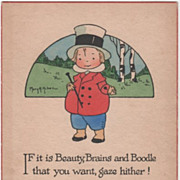 Artist Signed Mary H Huber Boy in Fancy Dress Vintage Greeting Card