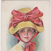 Lady In Yellow Hat Vintage Glamour Lady Postcard