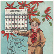 Artist Signed H B Griggs Boy with December Calendar Vintage Christmas Postcard