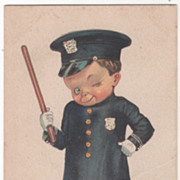Artist Signed F S M Young Boy in Police Uniform Vintage Postcard