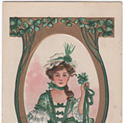 Probably H B Griggs Woman with Cockade Vintage St Patrick's Day Postcard