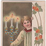 """Artist Signed Max Hanel Altar Boy and Candelabra """"God Jul"""" Vintage Postcard"""