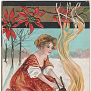 SOLD Artist Signed H B Griggs Woman with Bellows at Fire Vintage New Year Postcard - Red Tag S
