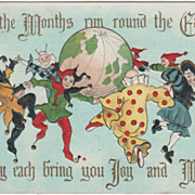 Artist Signed H B Griggs Globe Clowns and Jesters Vintage New Year Postcard