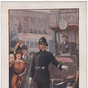 "SOLD Artist Signed Ernest Ibbetson ""A London Policeman"" Vintage Postcard - Red Tag S"
