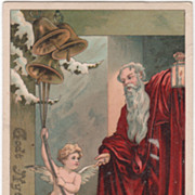 Artist Signed Max Hanel Father Time New Year Babe Vintage New Year Postcard