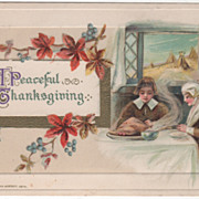 Winsch Pilgrim Couple at Table Praying over Meal Vintage Thanksgiving Postcard