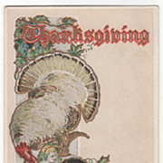 Very Large Turkey Gobbler Babe with Cornucopia of Harvest Bounty Vintage Thanksgiving Postcard