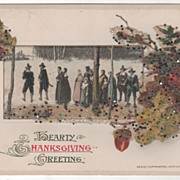 Winsch Pilgrims Walking through the Snow Vintage Thanksgiving Postcard