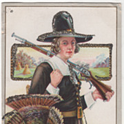 Pilgrim Man with a Gun Carrying a Dead Turkey Gobbler Vintage Thanksgiving Postcard