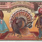 Pilgrim Man and Woman Very Large Turkey Gobbler Vintage Thanksgiving Postcard