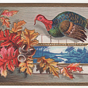 SOLD Oak Leaves and Acorns Blue Country Scene Turkey Vintage Thanksgiving Postcard