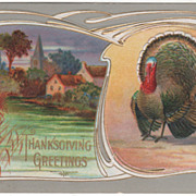 Town Scene with Church Very Large Turkey Gobbler Vintage Thanksgiving Postcard