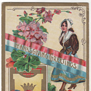 Pilgrim Maid Flowers Turkey Gobbler Red White and Blue Banner Vintage Thanksgiving Postcard