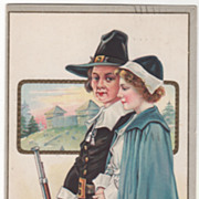 Pilgrim Couple with Gun Early Fort Turkey Gobbler Vintage Thanksgiving  Postcard
