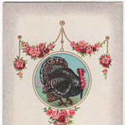 Chain with Roses Turkey Gobbler in Circular Frame Vintage Thanksgiving Postcard