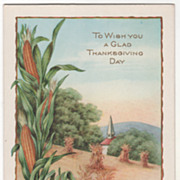 Ears of Corn Corn Shocks Church Steeple Vintage Thanksgiving Postcard