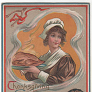 Pilgrim Maiden with Cooked Turkey Pudding Wishbone Vintage Thanksgiving Postcard