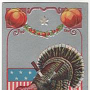 Pumpkins Turkey Gobbler with Knife and Fork Embedded Vintage Thanksgiving Postcard