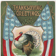 Harvest Bounty Bunting Turkey Gobbler and Shield Vintage Thanksgiving Postcard