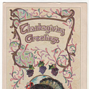Grapes Very Large Turkey Gobbler Other Fruit Vintage Thanksgiving Postcard
