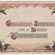 Winsch Grapes and Grape Vines Vintage Thanksgiving Postcard