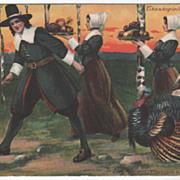 Pilgrim Man Two Pilgrim Maids Trays of Food Turkey Vintage Thanksgiving Postcard