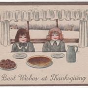 SOLD Children Saying Grace for Thanksgiving Meal Vintage Thanksgiving Postcard