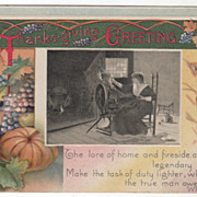 Harvest Bounty Wheat Lady at a Flax Wheel Vintage Thanksgiving Postcard