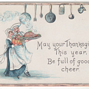 Chef with Turkey Maid with Pumpkin Harvest Bounty Vintage Thanksgiving Postcard
