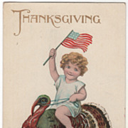 Child with American Flag Riding Turkey Gobbler Vintage Thanksgiving Postcard