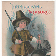 Signed Clapsaddle Pilgrim Boy with Dead Turkey Vintage Thanksgiving Postcard