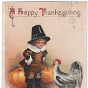 Signed Clapsaddle Pilgrim Boy with Chicken Vintage Thanksgiving Postcard