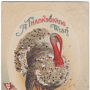 Unsigned Clapsaddle Large Turkey Gobbler Straw Vintage Thanksgiving Postcard