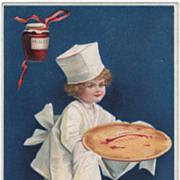 Unsigned Clapsaddle Little Chef with Mincemeat Pie Vintage Thanksgiving Postcard