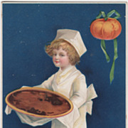 Unsigned Clapsaddle Little Chef with Pumpkin Pie Vintage Thanksgiving Postcard
