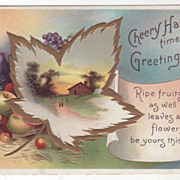 SOLD Signed Clapsaddle Fruit Country Scene in Leaf Vintage Thanksgiving Postcard