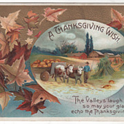 Signed Clapsaddle Leaves Oxcart of Pumpkins Vintage Thanksgiving Postcard