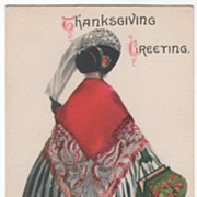 Signed Clapsaddle Lady in a Striped Dress Vintage Thanksgiving Postcard