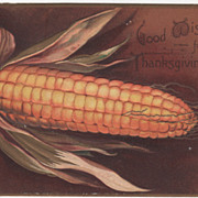 Signed Clapsaddle Very Large Ear of Yellow Corn Vintage Thanksgiving Postcard