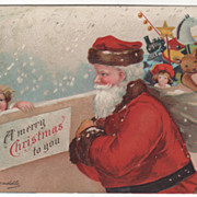 SOLD Signed Clapsaddle Santa with Sack of Toys Vintage Christmas Postcard - Red Tag Sale Item
